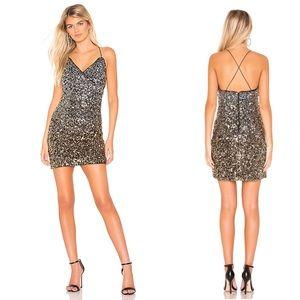 Bardot Glimmer Mini Dress in Silver & Gold Sequin